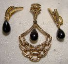 GERMAN GREY RHINESTONE & GLASS DROP PENDANT & EARRINGS SET 1950s