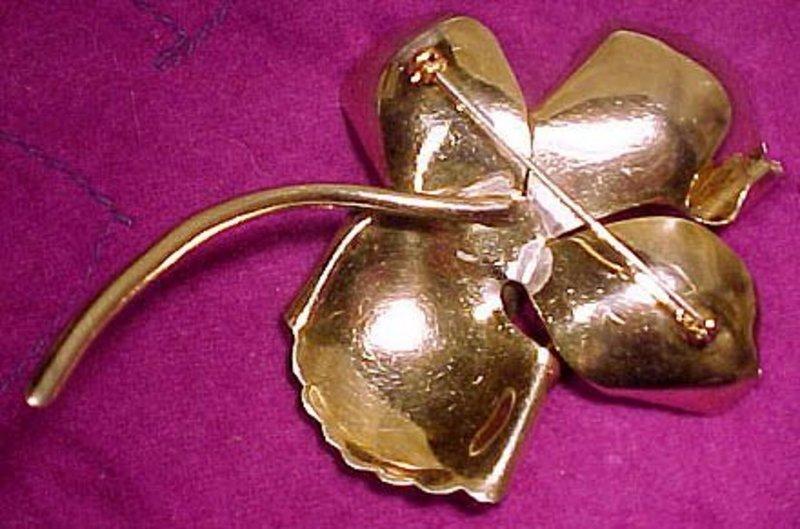 GILT STERLING RS FLOWER COAT PIN & EARRINGS c1930s