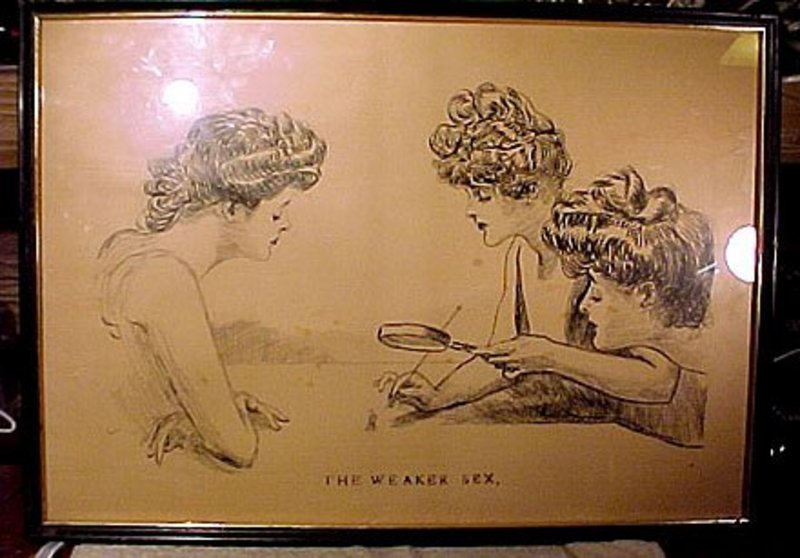 Charles Dana Gibson THE WEAKER SEX INK SKETCH STUDY