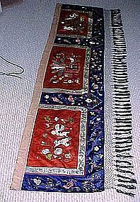 Antique CHINESE EMBROIDERED SILK BED VALANCE Xuantong