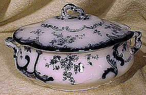 Ridgways CHISWICK FLOW BLUE SAUCE TUREEN 1894