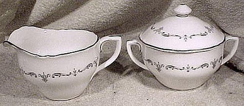 Royal Worcester Silver Chantilly Creamer & Covered Sugar Bowl Set