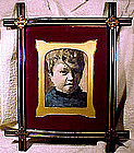 19thC FRAMED WATERCOLOUR PICTURE of CHILD 1860-80