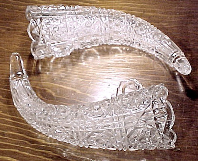 Pair PRESSED GLASS HORN EPERGNE or CAR FLOWER VASES 1910