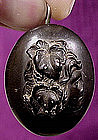 Late 19thC VULCANITE CAMEO LOCKET PENDANT