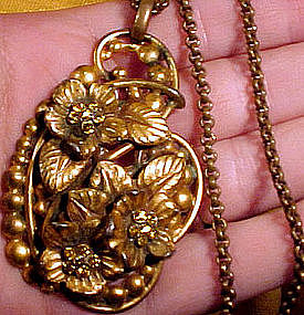 GP RHINESTONE FLORAL NECKLACE with CHAIN c1930