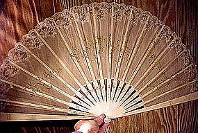 Ornate 19thC CARVED BONE, SILK, LACE & SEQUIN FAN