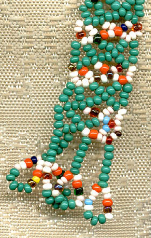 Colourful NATIVE BEADWORK BOLO TIE c1950s-60s