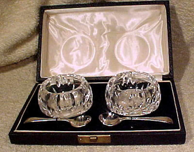BOXED CUT CRYSTAL MASTER SALTS & SP SPOONS 1920s-30s