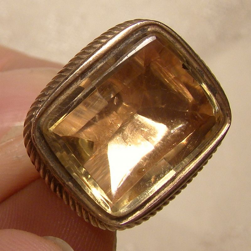 CITRINE Rolled Rose Gold Plate WATCH FOB 1840 Citrine