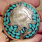 ENGRAVED MEXICAN STERLING PIN with INLAID TURQUOISE 1960s