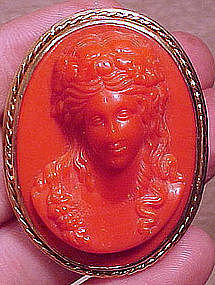 Large Red-Orange CORAL CELLULOID GILT BRASS CAMEO PIN 1930