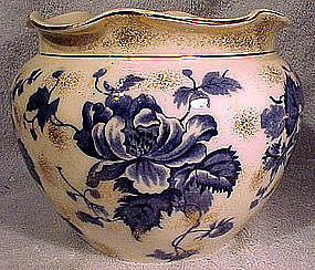 English BLUE TRANSFERWARE CHINA JARDINIERE c1880s