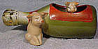GERMAN PINK CHINA PIGS in CHAMPAGNE BOTTLE WHIMSY 1890s
