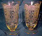 Tiffin YELLOW FLANDERS ELEGANT ETCHED GLASSES 2 Sizes
