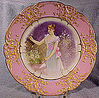 SEVRES Style Hand Painted PORTRAIT PLATE 19thC Signed Amblet
