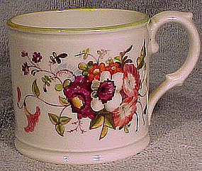 19thC ENGLISH HAND PAINTED CHINA CANN or CHILD'S MUG