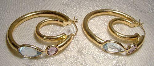 14K Blue Topaz Amethyst Hoop Earrings 1970s Yellow Large Double Hoop