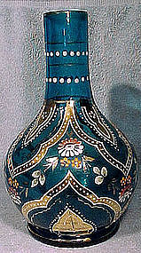 BOHEMIAN ELECTRIC BLUE ENAMELLED GLASS VASE 1890