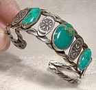 NAVAJO STERLING SILVER TURQUOISE CUFF BRACELET 1930s