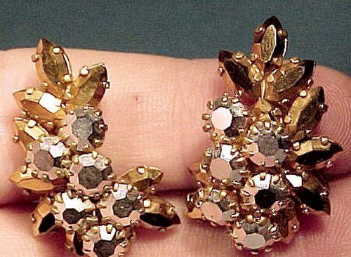 Schoffel GOLD & HEMATITE RHINESTONE EARRINGS