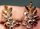 Schoffel GOLD & HEMATITE RHINESTONE EARRINGS