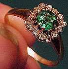 Georgian 14K GLASS EMERALD & DIAMONDS RING 1780-1800