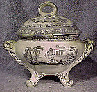 GRAY TRANSFER COVERED SAUCE DISH c1830-50