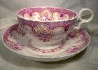 Early MAGENTA TRANSFER CUP & SAUCER c1830s-50s