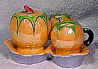 JAPAN PEACH LUSTRE CONDIMENT CRUET SET & STAND c1920s