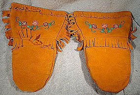 CREE STITCHWORK LEATHER GAUNTLETS c1930s-40