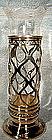 Elegant MERIDEN SP VASE- ORIG. ETCHED GLASS LINER c1900