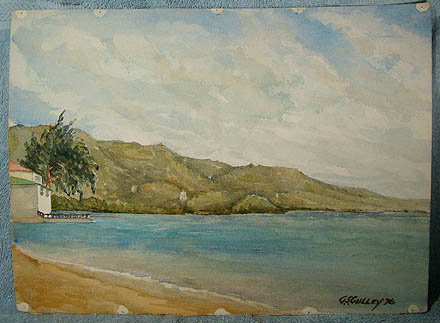 GEORGE CULLEY CANADA WATERCOLOUR PAINTING - House on Lake