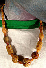 BAKELITE HAND CARVED & LATHE TURNED NECKLACE c1930s