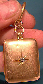 14K LOCKET FOB w/ DIAMOND Grand Trunk Railroad c1910
