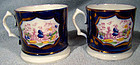 Pair 19thC GAUDY WELSH CANNS or MUGS 1820 1850