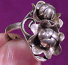 ARTS & CRAFTS STERLING Silver Flower RING c1920