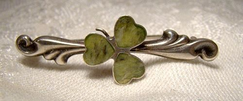 Sterling Silver CONNEMARA MARBLE SHAMROCK PIN Edwardian 1900