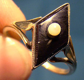 Art Deco 14K Black ONYX & PEARL RING 1915 1920