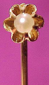 14K PEARL STICKPIN 1890-1900 14 K Victorian Tie Pin