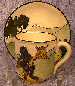 Austrian PUSS IN BOOTS HANDPAINTED CUP & SAUCER 1900