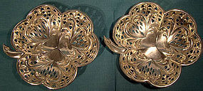 Pair Walker & Hall STERLING Silver SHAMROCK MINT DISHES Bowls 1906