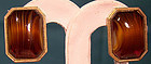 Signed CHRISTIAN DIOR GP 1968 STRIPED AGATE GLASS Clip On EARRINGS