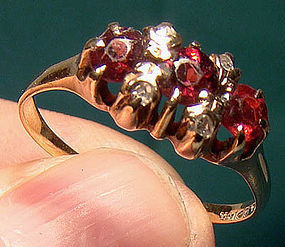 Victorian 14K GARNETS & DIAMONDS RING c1890-1900