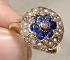 10K Iolites Seed Pearls Ring 1880s Victorian Flower Circle Size 4
