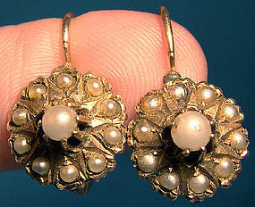 14K PEARLS VICTORIAN EARRINGS 1880-90