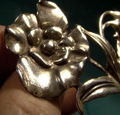 1940s DANECRAFT STERLING FLOWER PIN