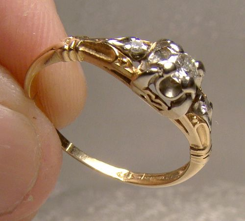 Art Deco 14K & 18K DIAMONDS RING 1930s - Size 6