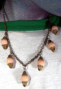 BRASS & ROSE CORAL CELLULOID DANGLE NECKLACE 1930s