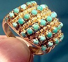 18K Turquoise 5 Rows Rope Ring 1960s 18 K Hand Made Size 6